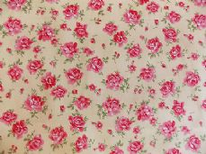 ROSE FLORAL100% COTTON FABRIC SHABBY CHIC VINTAGE RETRO PER METRE YELLOW NO4